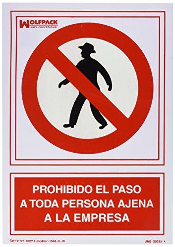 WOLFPACK 15050530 - Cartel Prohibido el Paso Persona Ajena Empresa 30x21 cm