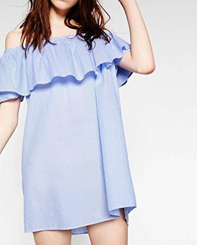 Baymate Schulterfrei Flounced Streifen Mini Kleid Party Strand Bluse Tops Für Damen Wie Bild