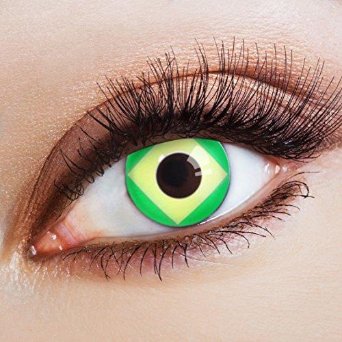 aricona Farblinsen Farbige Kontaktlinse Flagge Seleção   – Deckende Jahreslinsen für dunkle und helle Augenfarben ohne Stärke, Farblinsen für Karneval, Fasching, Motto-Partys und Halloween (Kostüm Halloween Sieger)