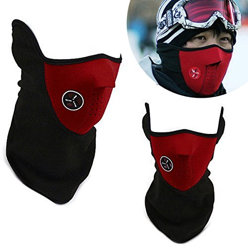 naisicatar Neopren Winter Snowboard Ski Half Face Mask weich Baumwolle Fleece Hals Ear Warmer Schutz belüftet Klettverschluss verstellbaren Schließen ausgestattet Biker Motorrad Gesichtsmaske