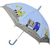 Regenschirm - ' Baustelle - Bagger & Kipper ' - Kinderschirm Ø 78 cm - Kinder Stockschirm - Regenschirme - Schirm für Jungen Schirm Kinderregenschirm / Glockenschirm - LKW - Radlader - Nylon - Baustellenfahrzeug / Auto - Fahrzeuge - Autoregenschirm - Schirme - Fahrzeug