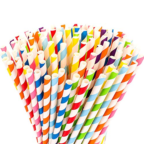 eujiancai 200-Pack Biodegradable Paper Straws - 8 Different Colors Rainbow Stripe Paper Drinking Straws - Bulk Paper Straws for Juices, Shakes, Smoothies, Party Supplies Decorations (200Count) (Neon Party Bulk Supplies)