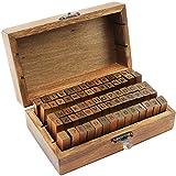 com-four® Stempelset Gummi-Stempel in Einer rustikalen Holzbox mit Buchstaben (Alphabet), Nummern & Sonderzeichen