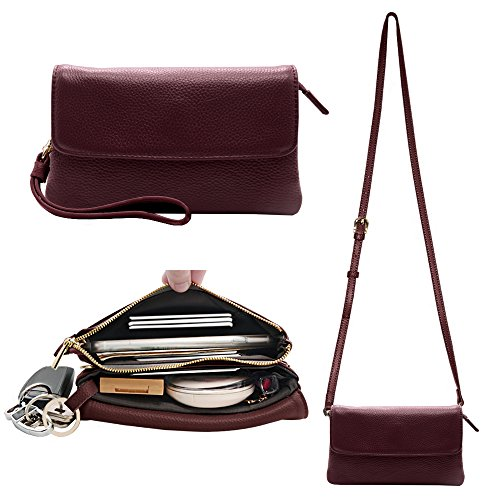 Befen Womens Leather Wristlet Clutch Crossbody Cell Phone Wallet, Mini Cross Body Bag with Shoulder Strap / Wrist Strap/Card Slots for iPhone 6S Plus/Samsung Note 5 – Burgundy