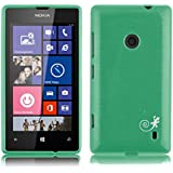 JAMMYLIZARD | Back Cover Hülle für Nokia Lumia 520 Schutzhülle aus Silikon in Gebürstetes Aluminium Optik, SMARAGDGRÜN