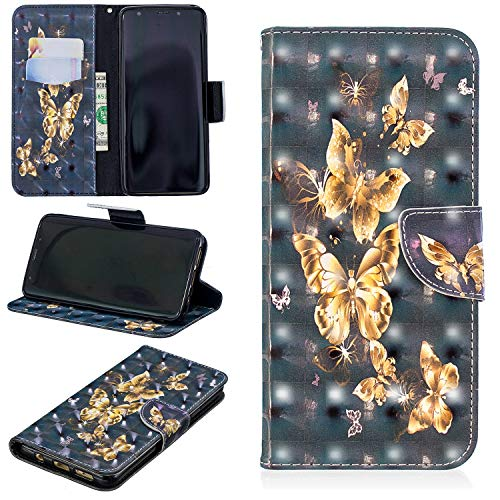 Ostop Brieftasche Hülle für Samsung Galaxy S9 Plus,3D Niedlich Muster Leder Handyhülle Kartenfach Standfunktion Schutzhülle Magnetisch Flip Abdeckung,Gold Schmetterling Schwarz PU -