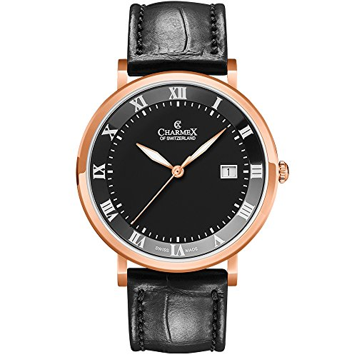 Charmex Men's Copenhagen 40.5mm Leather Band Steel Case Quartz Watch 2806