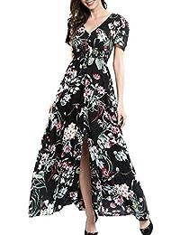 a4bb2b1bd9d Robe Longue Femme Boheme Manche 3 4 Été Tunique Col V Fleurie Vintage Hippie  Chic Elegante Mode Imprimé Florale Maxi Robe avec Fente pour…