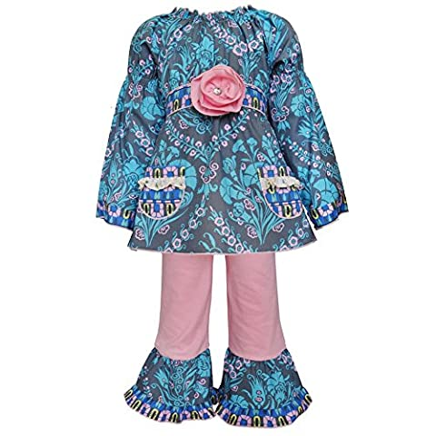 AnnLoren Baby Girls Blue Pink Floral Damask Ruffle Pants Outfit