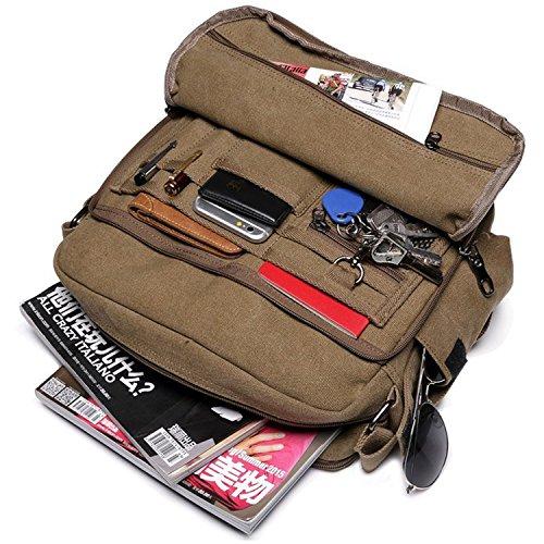 Outreo Canvas Umhängetasche Herren Vintage Messenger Bag Schultertasche Herrentaschen Kuriertasche Uni Schule Taschen für Buch Tablet Sport Segeltuchtaschen Retro sporttasche Weekender Reisetasche