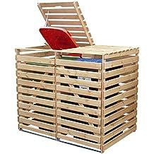 Mülltonnenbox Holz V für zwei 240 Liter Tonnen in Holz natur