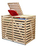 RiBa Mülltonnenbox Holz V für Zwei 240 Liter Tonnen in Holz Natur