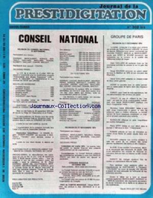 JOURNAL DE LA PRESTIDIGITATION [No 302] du 01/01/1975 - CONSEIL NATIONAL - CLAUDE DOULLIET. par Collectif