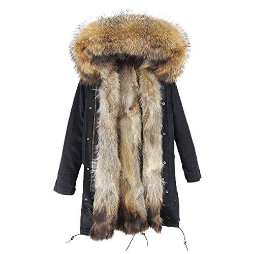 Lea Marie Damen Luxury Parka XXL Kragen aus 100% ECHTPELZ ECHTFELL Jacke Mantel Fuchspelz Innenfutter (XL / 40, Schwarz) Arctic Parka