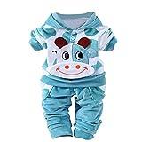 Baby Kleider 0-24 Monat, QinMM Neugeborene Baby Mädchen Jungen Cartoon Kuh Arm Outfits Samt Kapuzenoberteile Set (0-6M, Blau)