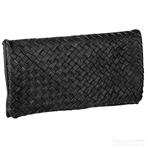Abro plumes panier 026096-36 flechtung pochette en cuir pour femme 28 x 16 x 3 cm Noir - Noir