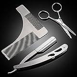 PChero 3-in-1 Barbero Herramientas Kit con Barba Peine Plantilla, Tijera y Navaja de Afeitar - La hoja no está incluida