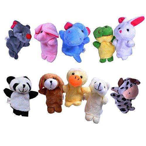 Beyond Dreams 10 Fingerpuppen Set für Kinder | Velvet Tiere Handpuppen | Niedliches Spielzeug Fingertiere | Rollenspiele | Kreative Spiele für Kinder | Mitbringsel Mitgebsel Geschenk Kindergeburtstag (Gummi-ente Baby-buch)