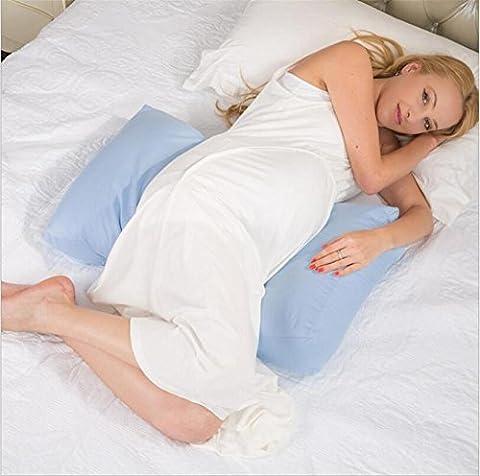 DU&HL Grossesse réglable Retour Oreiller, régleurs 360 ° Cuddle ME Side Sleeping pour Belly maternité taille Wedge Pillow avec 100% coton Zipper amovible, Bleu