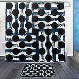 ISAOA Badezimmerteppich mit schwarzen Punkten, Blau und Weiß gestreift, Rutschfest, für den Innenbereich, 60 x 40 cm, wasserdicht, 183 x 183 cm, waschbar, mit 12 Haken