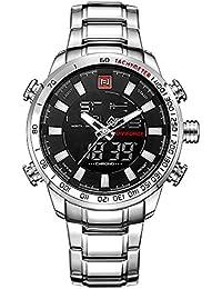 Reloj deportivo para hombre, de la marca Naviforce, analógico y digital, movimiento de cuarzo, en color negro y plateado