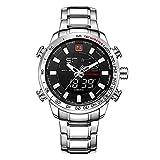 NAVIFORCE Herren Analog-digital Quarzwerk Uhr mit Edelstahl Armband Wasserdicht Kalender 9093 Silber Schwarz