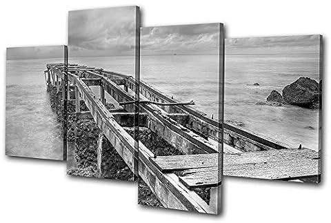 Bold Bloc Design - Sunset Seascape Abandoned Pier - 240x135cm Boîte de tirage d'Art toile encadrée photo Wall Hanging - à la main dans le UK - encadré et prêt à accrocher - Canvas Art Print