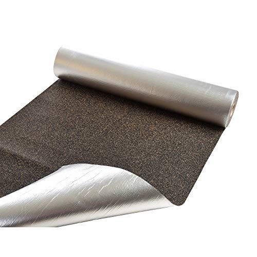 Gummikork-Trittschalldämmung mit Alufolie, 1,05m x 10m ★ Dampfsperre ★ Wärmeisolierend ★ Druckstabil   Schallschutz-Unterlage für Parkett, Vinyl und Laminat   Dämmmatte für Fußbodenheizung
