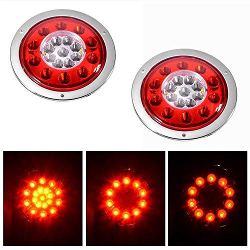 Rot/Gelb 10,9cm rund 19-led Truck Trailer Bremse Stop Turn Signal Marker Schwanz LED-Licht wasserdicht Tight versiegelten chrom Ring DC12V/24V (Pack von 2) - Led-marker Anhänger