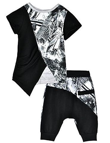 Little Hand Jungen Schlafanzug Kurze Ärmel Sommerkleidung Zweiteiliger Shorty-Pyjama Schwarz 6-7 (Abbigliamento bambino)
