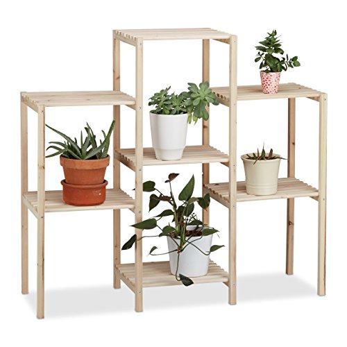 Relaxdays 10022927_59 scaffale per piante in legno da interno stabile rustico inossidabile massiccio fioriera hxlxp 86 x 95 x 29 cm beige