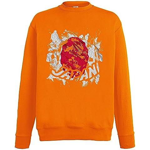 Bandiere Firmata Collezione 2, Fruit of the Loom Arancio Mens Sweatshirt Uomo Felpa Set-In Leggera con Design Colorato. Taglia S M L XL 2XL. - Vintage Firmata Giappone