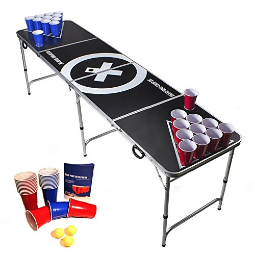 Beer Pong Tisch Set - Audio Table - inkl. 100 Becher (50 Rot & 50 Blau), 6 Bälle, Regelwerk & 2 Gratis Bier Pong Racks -