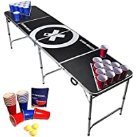 Beer Pong Tisch Set - Audio Table - inkl. 100 Becher (50 Rot & 50 Blau), 6 Bälle & Regelwerk