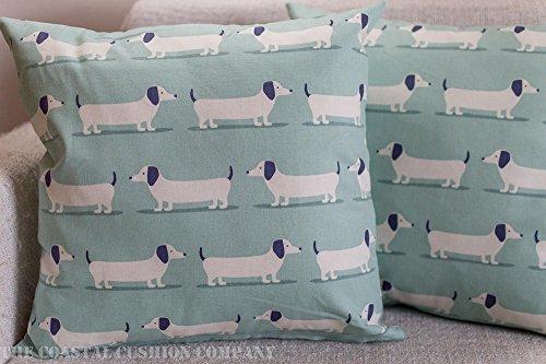 Duck Egg Blau und Weiß Wurst Hund Dackel Kissenbezug 43,2x 43,2cm quadratisch Dekorative Kissenbezug -