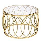 DYFYMXTable d'appoint Table basse ronde avec plateau en verre trempé et structure en...