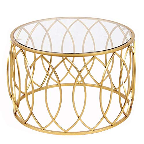 DYFYMXTable d'appoint Table basse ronde avec plateau en verre trempé et structure en métal doré