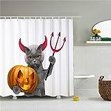 Katze Devil Halloweeen, Vorhänge Dusche, Polyester Wasserdicht Duschvorhang 12Haken included-69X 84