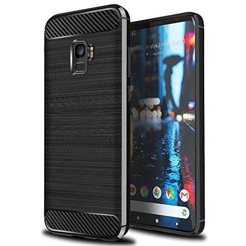 Ferlinso Coque Samsung Galaxy J6 2018, Flexible Rugged Armor Hybrid Defender Housse de protection contre les chocs Housse de protection en fibre de carbone pour Samsung Galaxy J6 2018 (Noir)