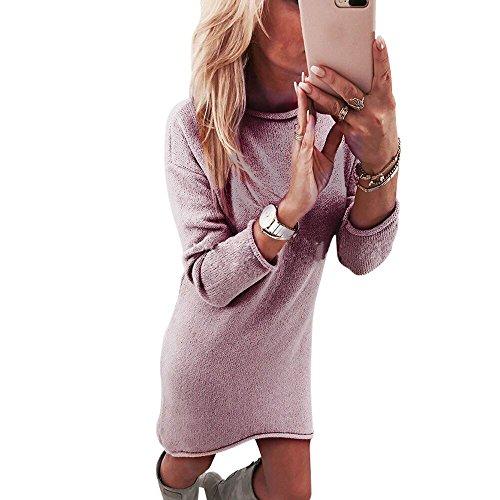 ESAILQ Mode Frauen Fester Oansatz Pullover Langes BeiläUfiges Langes HüLsen Pullove Kleid(X-Large,Rosa)