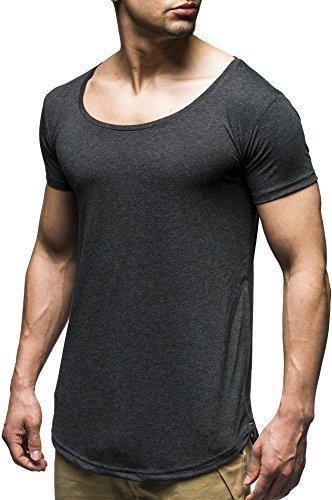 LEIF NELSON Herren Oversize Verwaschene T-Shirts Rundhals Shirts Basic LN20150241; Größe S, Anthrazit | 04250863653660