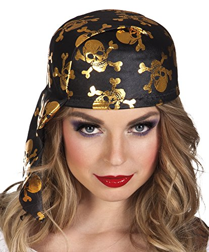 erdbeerloft - Piraten Kostüm stabile Kappe Kopftuch mit Totenschädel Kostüm , Gold