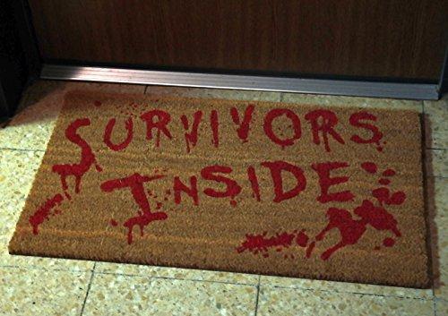 Edle Zombie Fußmatte Survivors Inside 75x45cm PVC Kokosmatte Fußabtreter