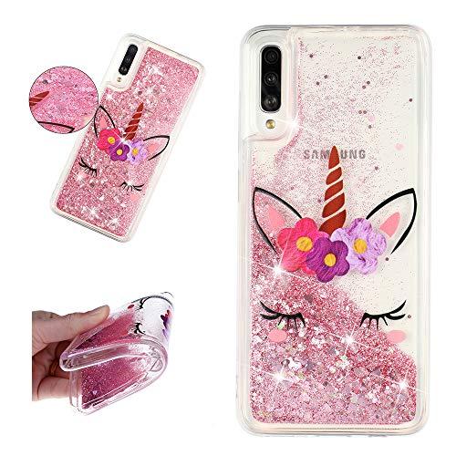 SEEYA Funda para Samsung Galaxy A50 Case Silicona Carcasa TPU Gel Suave Flexible y Ligera Cover Diseño Líquido Transparente Cristal Case Bumper Anti-Rasguño y Resistente, Unicornio