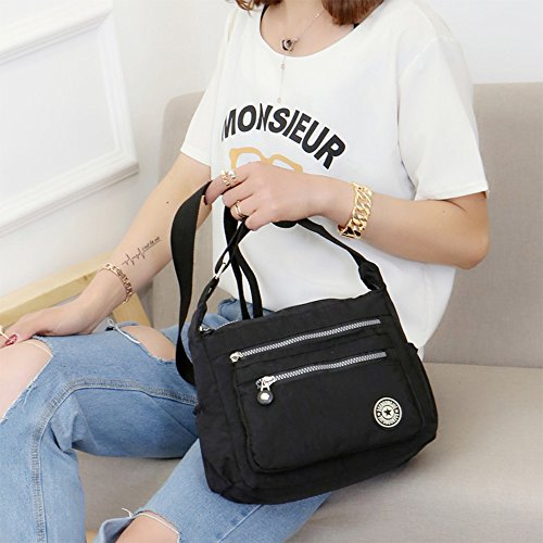 8089cf9f910f ... Women s Casual Multi Pocket Nylon Messenger Bags Cross Body Shoulder  Bag Travel Purse (Black) ...