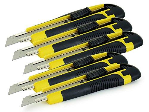 Preisvergleich Produktbild AKF 5 x Cuttermesser mit 18mm Trapezklinge - Günstiges Set für Heimwerker und Profis