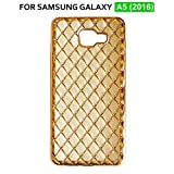 TheGiftKart™ Luxury Electroplated 3D Diamond Grid Pattern (Golden) High Quality TPU Soft Flexible Back Cover for Samsung Galaxy A5 (2016)