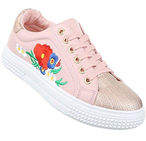 Damen Freizeitschuhe Schuhe Sportschuhe Turnschuhe Sneaker Laufschuhe Gold Pink Wei