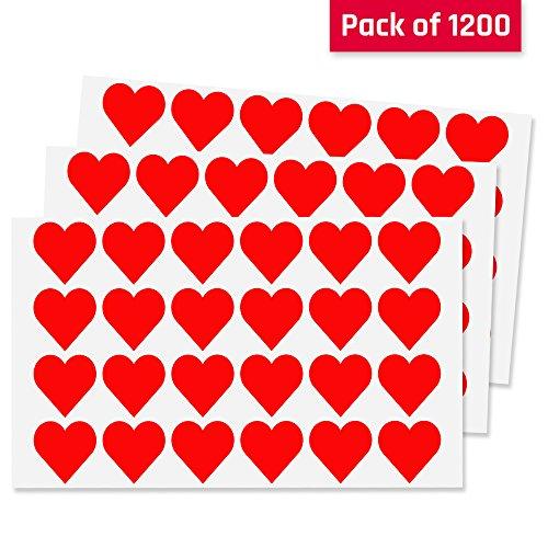 2,5cm Rot Herz Aufkleber Etiketten - 50 Blätter, 1200 Stück