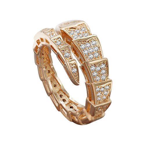 Uloveido Frauen Rose Gold plattiert Schlangetier Ring freie Größe mit klarem Zirkonia offener Schwanz einstellbar für Mädchen Y320-Rose Gold -
